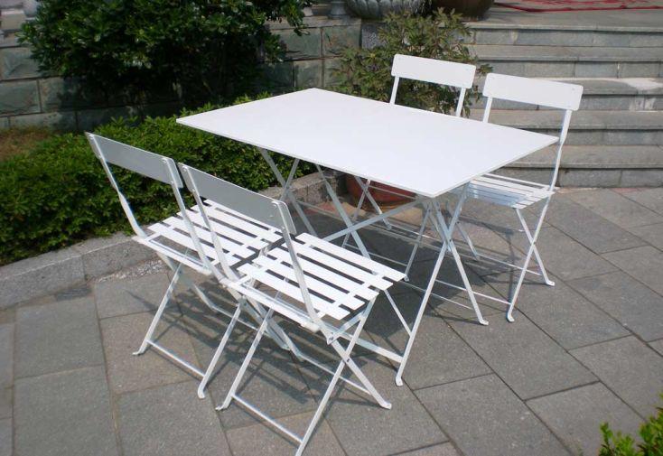 Table Pliante Rectangulaire Cytadine + 4 Chaises Métal