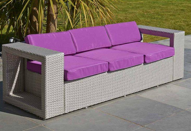 salon de jardin 5 places gris et fuschia pvc med. Black Bedroom Furniture Sets. Home Design Ideas