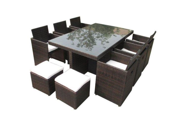 Salon de Jardin Résine Tressée Encastrable Chocolat : 11 pièces