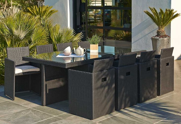Salon de Jardin en Résine Tressée Encastrable Noir : 1 Table + 8 Fts ...