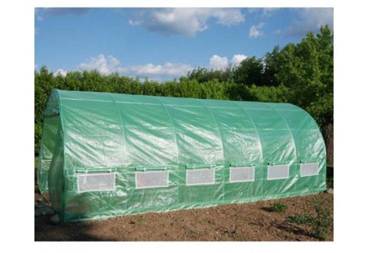 Serre Tunnel de Jardin en Acier Galvanisé et Polyéthylène 18m² serre maraîchère 12 fenêtres moustiquaires film vert