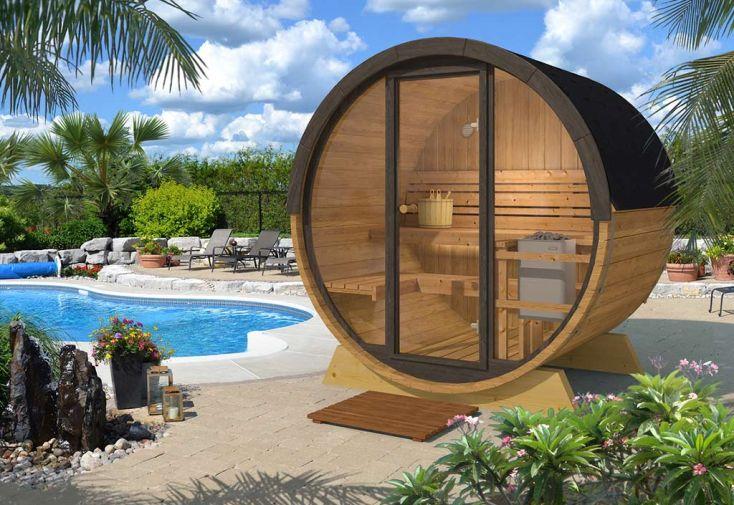 Sauna extérieur en bois thermowood et porte en verre 200 cm