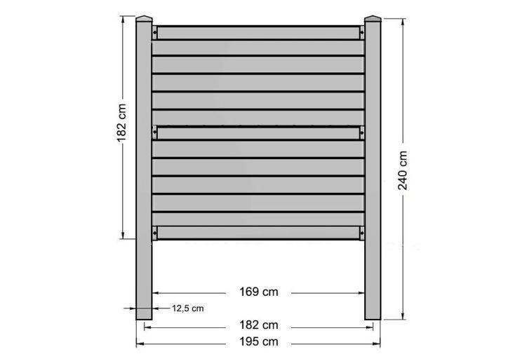 Kit Panneau de Clôture en Polypropylène 195x12,5x182cm (l,l,h)