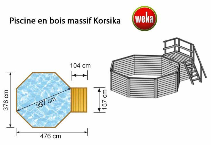 Piscine Bois Hors-Sol Korsika + Kit 11,4 m3 D3,97