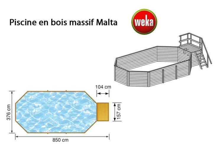 Piscine Bois Hors-Sol Malta+ kit 25,6 m3 (3,76x8,50)