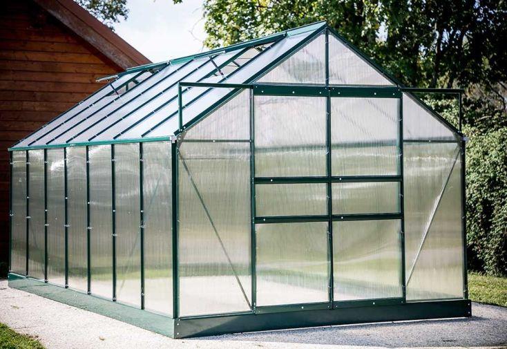 Serre de Jardin Polycarbonate 10,37m² avec Base + 4 Lucarnes
