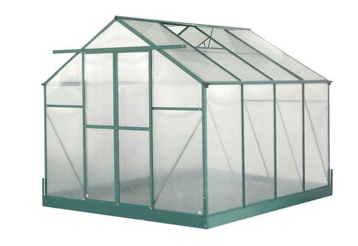 Serre de Jardin Polycarbonate 7,44m² avec Base + 2 Lucarnes