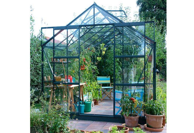 serre de jardin aluminium vert et verre trempé Laurus Uranus 8300 Lams