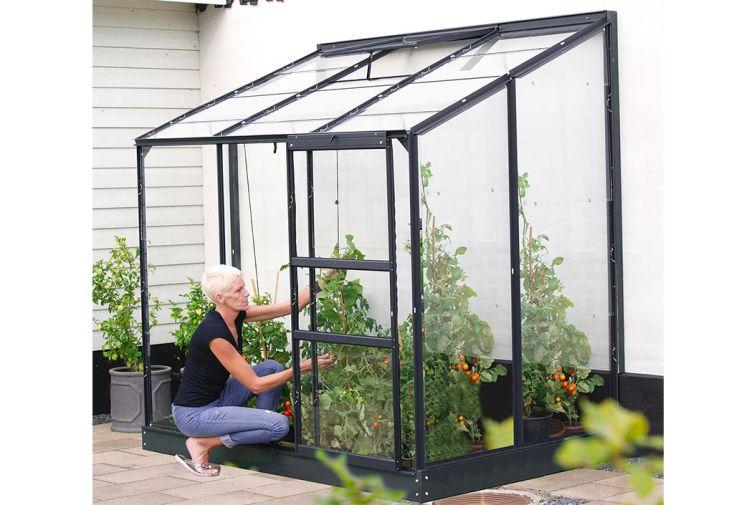 Serre adossée en verre trempé avec porte coulissante 2,5 m² Melissa 2500 Lams