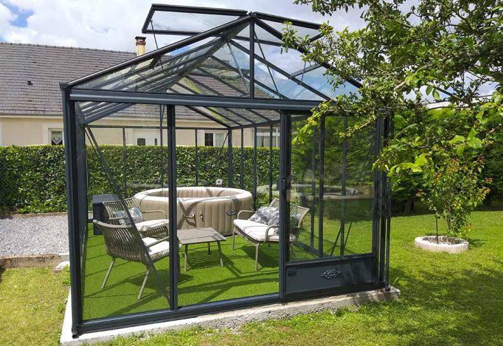 Serre en Verre Structure Aluminium Anthracite Lams Luxia 16,4 m²