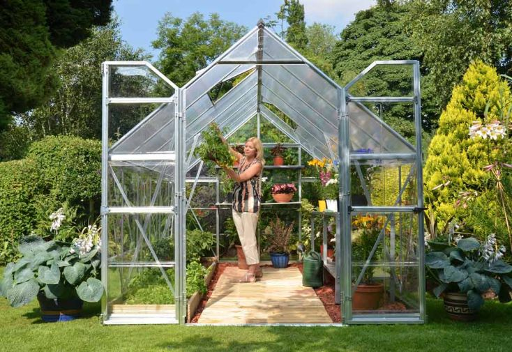 Serre de Jardin Polycarbonate Argent Balance 8,9m²