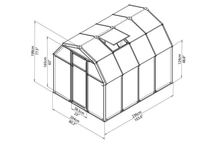 Serre de jardin polycarbonate Rion Eco (204x236x198)