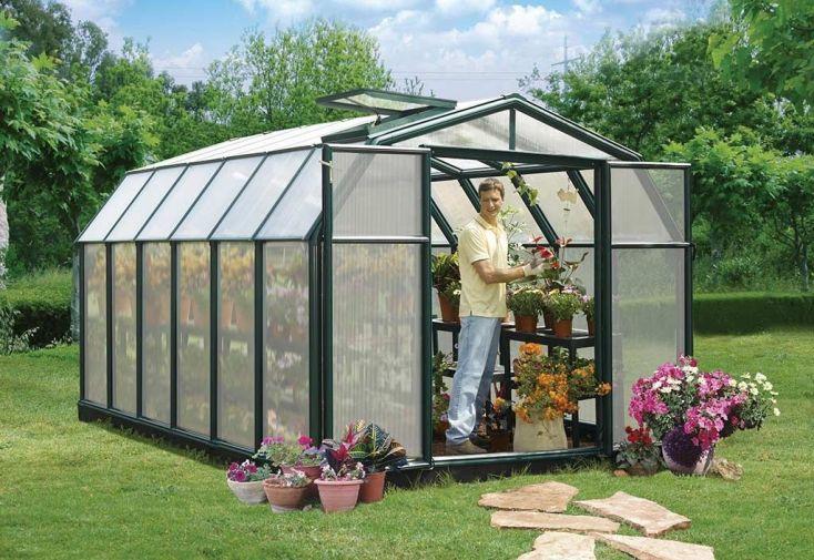 serre de jardin en PVC vert et en polycarbonate double paroi Palram