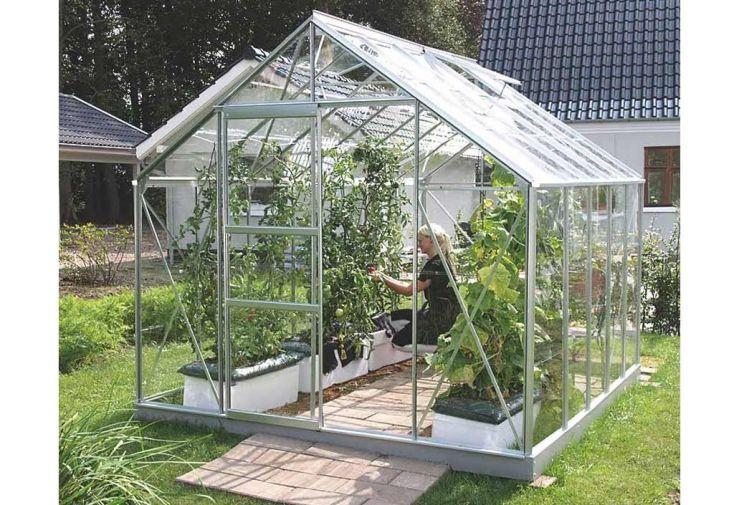 serre de jardin en verre trempé de 3 mm avec porte coulissante