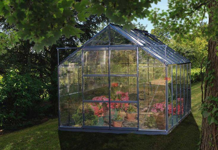 Serre de Jardin en Verre Trempé Grise avec Base 8,88 m²