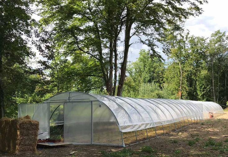 Grande Serre de Jardin en Acier Galvanisé et Polyéthylène Tonneau Normandie