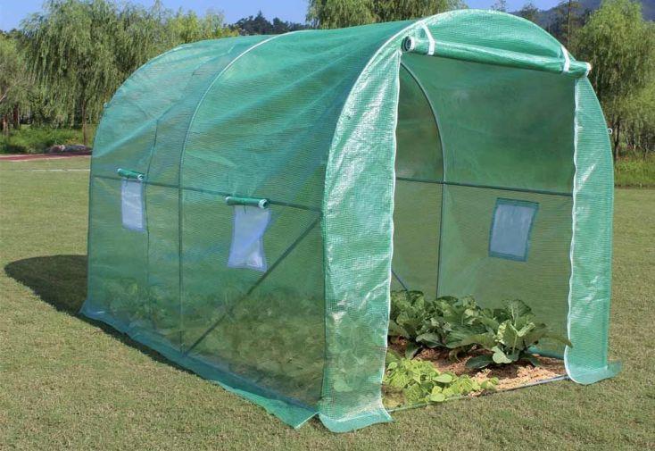 serre tunnel de jardin en polyéthylène et acier