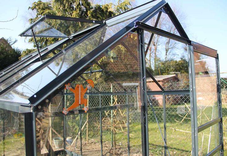 Serre de Jardin en Verre Trempé Grise avec Base 4,65 m²