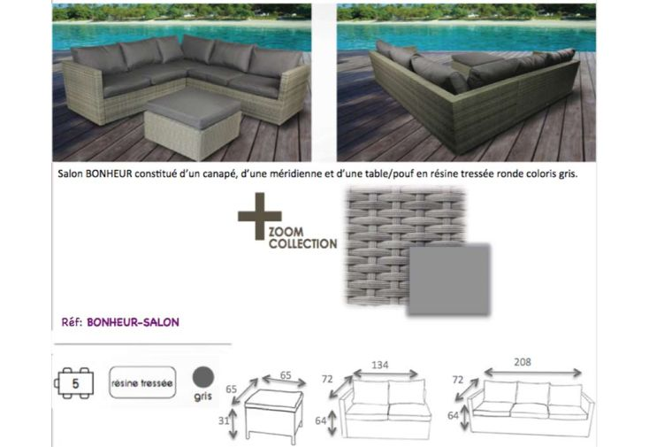 Salon de Jardin en Résine Tressée : deux Canapés 3 Pl + 2 Pl + 1 Table