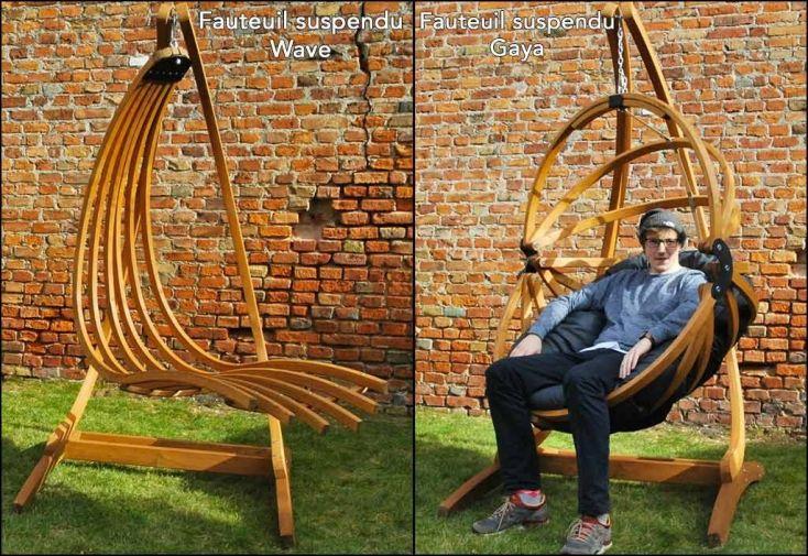 support en bois lamellé collé pour fauteuil suspendu wave ou gaya