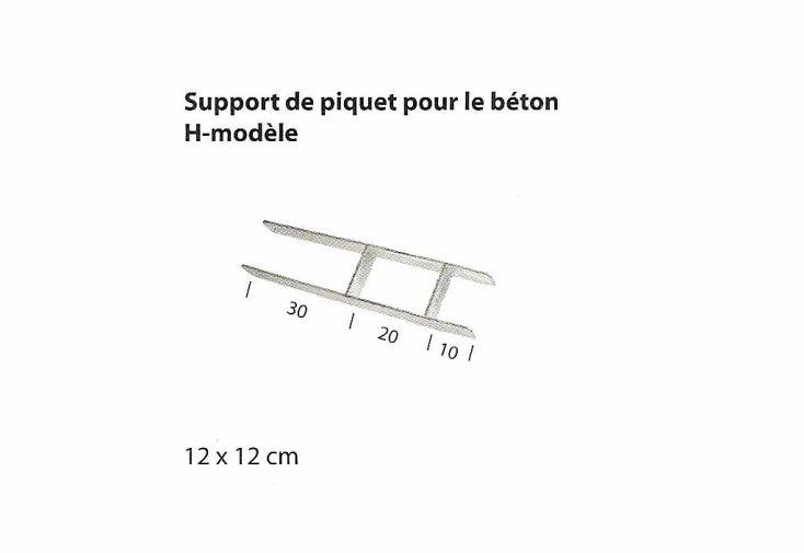 Support Piquet en H pour Poteaux 120x120
