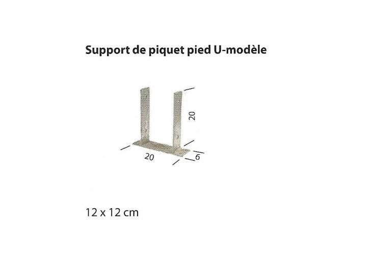 Support Piquet en U pour Poteaux 120x120
