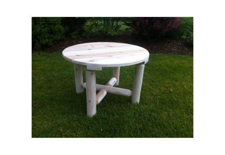 Table à Café Ronde en Cèdre Blanc 61x43cm