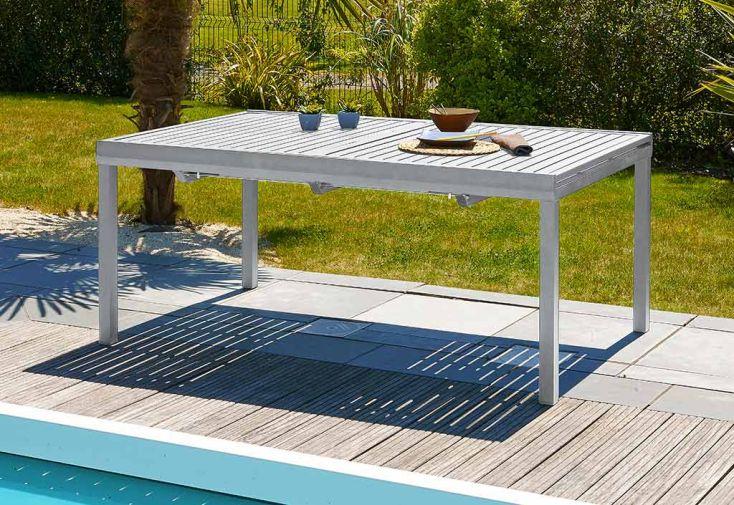 Salon de Jardin en Aluminium Table 240 cm + 6 Fauteuils
