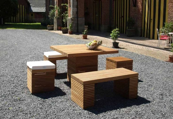 Table de Jardin Carrée en Teck Massif Vicio
