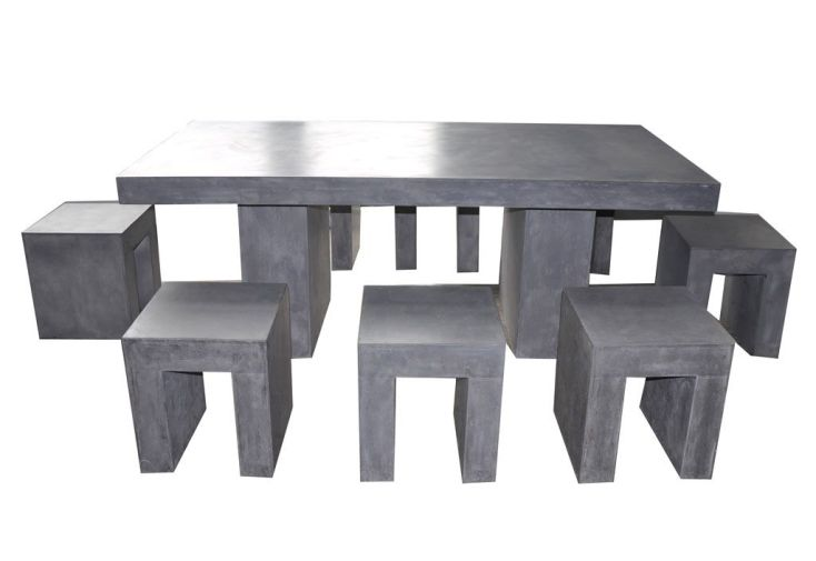 Ensemble Table + 8 Tabourets de Jardin Béton Ciré