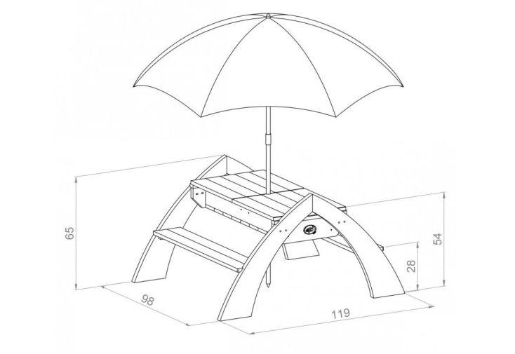 dimensions de la table de jeux pour enfant jardin eau et sable