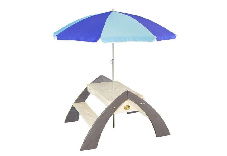 table de pique-nique en bois avec parasol pour enfants