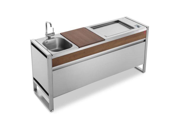 Table de cuisson avec plancha électrique en inox et évier Oasi 183C