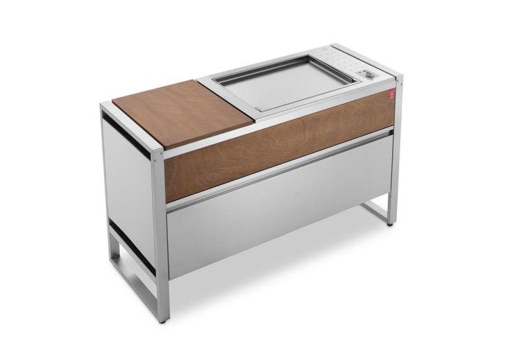 Table de cuisson avec plancha électrique en inox 2,4 kW Oasi 142C