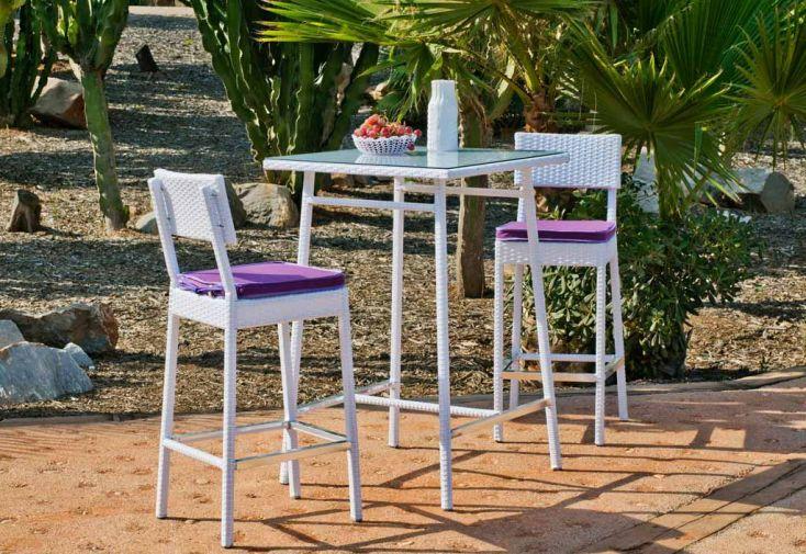 Ensemble Bar de Jardin en Résine Tressée Blanche Milano: Table + 2 Tbr