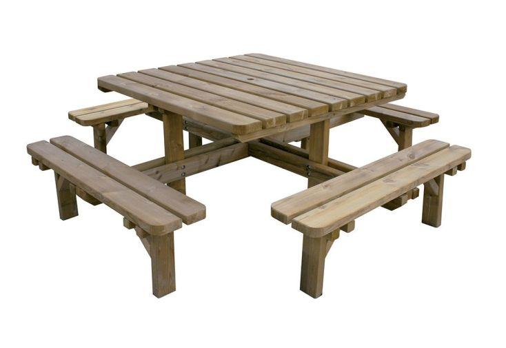 Table de Pique-Nique en Bois Traité Octave 210x210x74,5cm