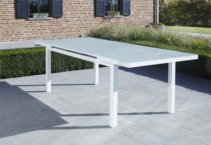 Salon de Jardin Aluminium et Verre Whitestar : Table + 8 Fauteuils ...
