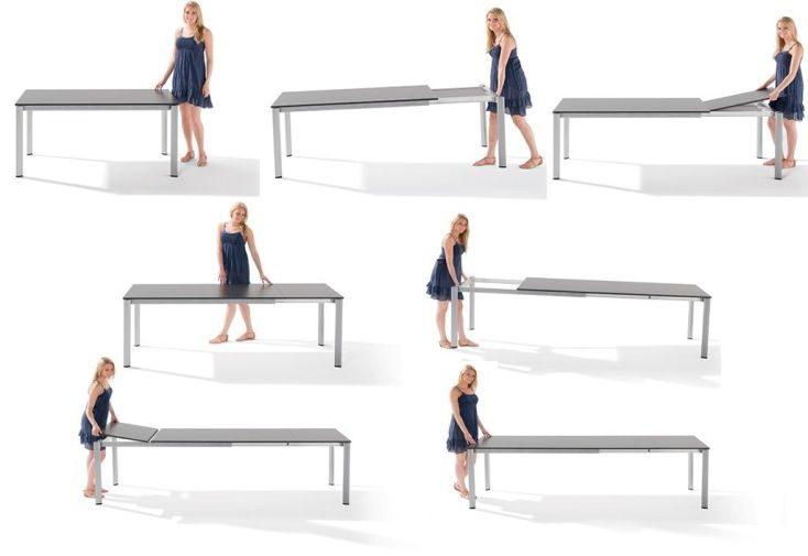 Salon de Jardin avec Table Extensible Puroplan + 6 Chaises Graphite Trento
