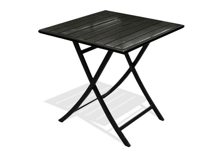 Table Guéridon Pliante en Aluminium Miami Gris Anthracite 70 x 70 cm