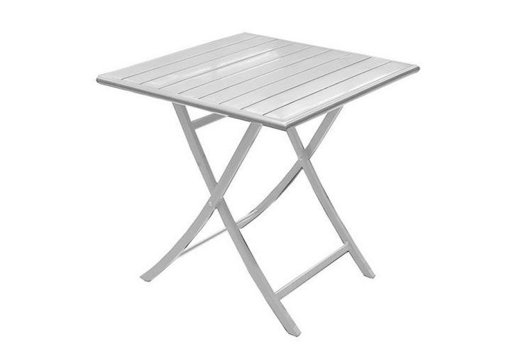 Table Guéridon Pliante en Aluminium Orlando Gris Galet 70 x 70 cm