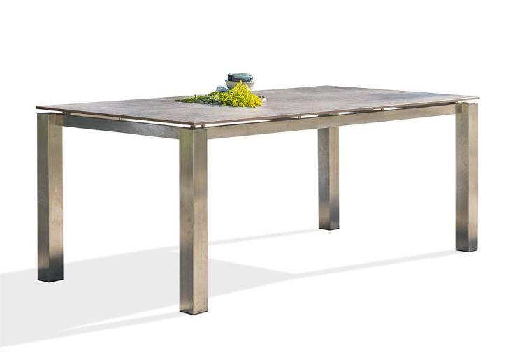 Table de jardin en acier inoxydable et plateau HPL 2 x 1 m 8 personnes