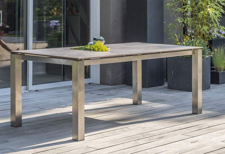 table de jardin en inox avec plateau en hpl 200 x 100 cm torino