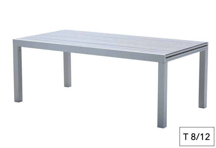 Table de Jardin Aluminium Tulum Blanc et Aspect Bois