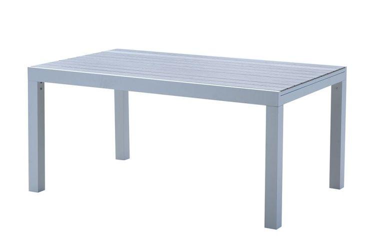 Table de Jardin Aluminium Tulum Blanc et Aspect Bois - Wilsa