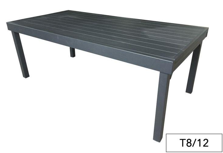 Table de jardin aluminium modulo gris anthracite pls dimensions wilsa for Table jardin aluminium