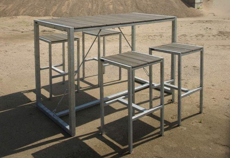 Table de Bar Extérieure Rectangulaire Acier WPC