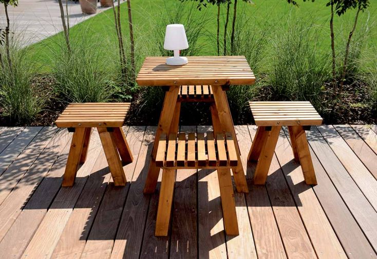 Table de Jardin Karel XS Bois Traité Autoclave 70 x 70 cm - Jardipolys
