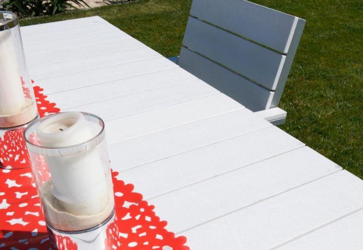 Table Jardin Composite Blanc et Alu (170x85) + 6 Fauteuils