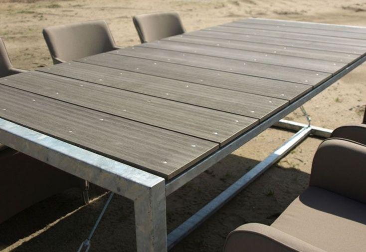 Table Jardin Acier WPC Rectangulaire (220 x 100 x 76 cm)