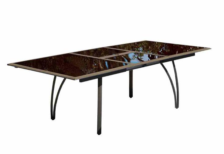 Table Jardin Verre Fumé + Alu (180/240x110x73) (2 coloris)